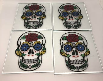 Sugar Skull Hand Painted Recycled Glass Coasters pack of 4