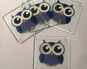 Pack of Four Hand Painted, Recycled Glass Owl Coasters