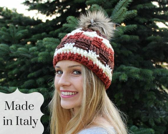 Beanie Crochet Hat Beret Knit Hat Winter Hat Gift Fur Pom Pom  859deee2f