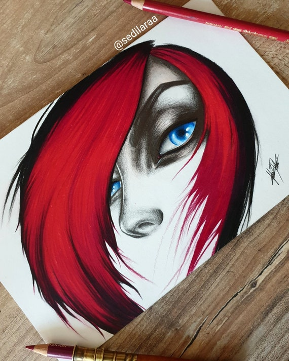 Champions Eyes Fiora League Of Legends Original Drawing