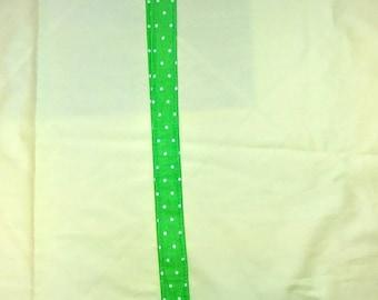 Green polka dot fabric lanyard