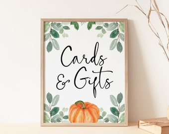 cards and gifts sign // pumpkin baby shower, fall autumn, watercolor greenery, eucalyptus, gender neutral, printable sign