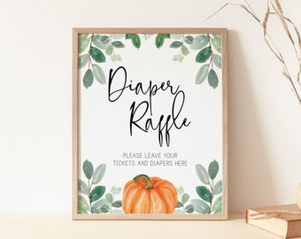 diaper raffle ticket sign // pumpkin baby shower, fall autumn, watercolor greenery, eucalyptus, gender neutral, printable sign