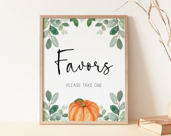 favors sign // pumpkin baby shower, fall autumn, watercolor greenery, eucalyptus, gender neutral, printable sign