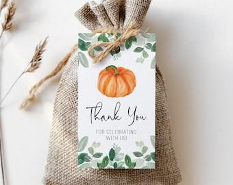 printable pumpkin favor tag // pumpkin baby shower, fall autumn, eucalyptus, orange pumpkin, gender neutral, printable favor tags