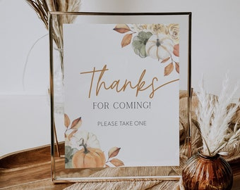printable thanks for coming sign // fall baby shower, pumpkin, fall floral, gender neutral, printable baby shower sign