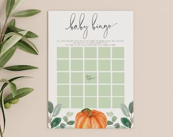 baby bingo game card // pumpkin baby shower, fall autumn, watercolor greenery, eucalyptus, gender neutral, printable game