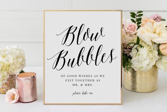 Wedding Signage Bubble Send Off Blow Bubbles  Real Gold Foil Print Custom Sign Reception Party