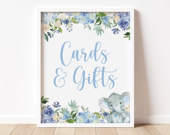 cards and gifts table sign // baby shower sign, elephant theme, jungle animal, safari, blue, baby boy, watercolor floral, printable signs