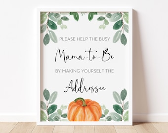 addressee sign // pumpkin baby shower, fall autumn, watercolor greenery, eucalyptus, gender neutral, printable sign