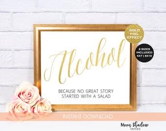 Alcohol Wedding Sign    Wedding Reception Sign Decor   8x10 5x7   Digital File   Instant Download