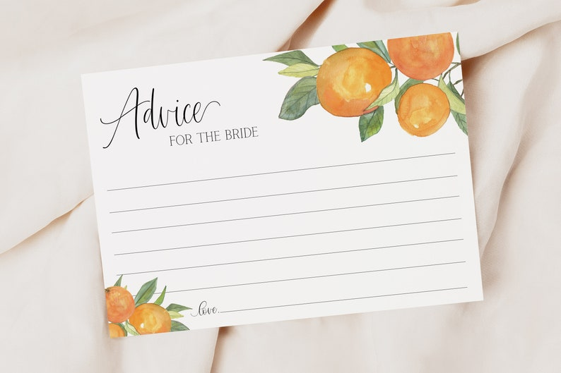 printable bridal shower game oranges cutie advice for the bride card  citrus bridal shower clementine citrus wedding shower