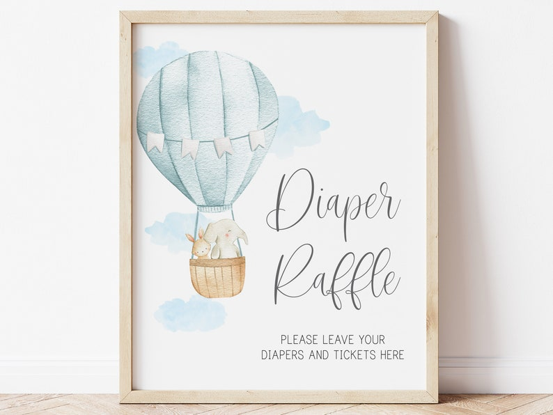 adventure awaits baby boy blue printable baby shower sign diaper raffle sign  hot air balloon baby shower up up and away