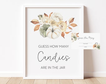 guess how many candies // fall autumn baby shower, orange pumpkin, fall floral, gender neutral, printable baby shower sign