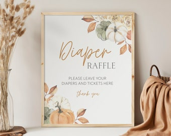 printable diaper raffle sign // fall baby shower, pumpkin, fall floral, gender neutral, printable baby shower sign