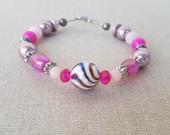 Pink & Silver Beaded Bracelet with Toggle Clasp, Jewelry