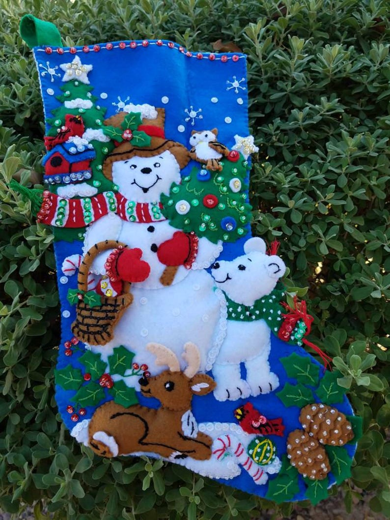 Bucilla Snow Friends finished stocking 16 inch