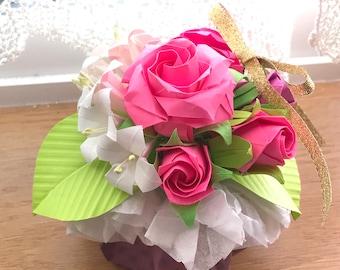 Origami flowers etsy origami flowers bouquet mightylinksfo