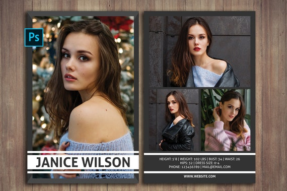 Modeling Comp Card Template Photoshop
