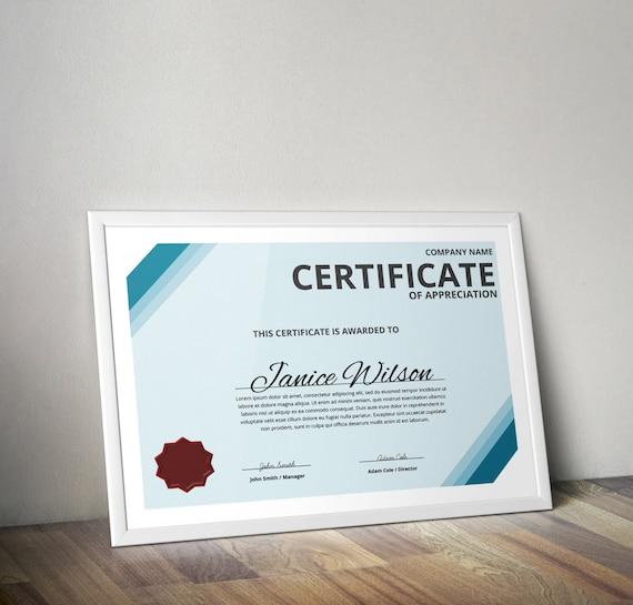 Mehrzweck Word Vorlage DIY-Zertifikat Zertifikat der | Etsy