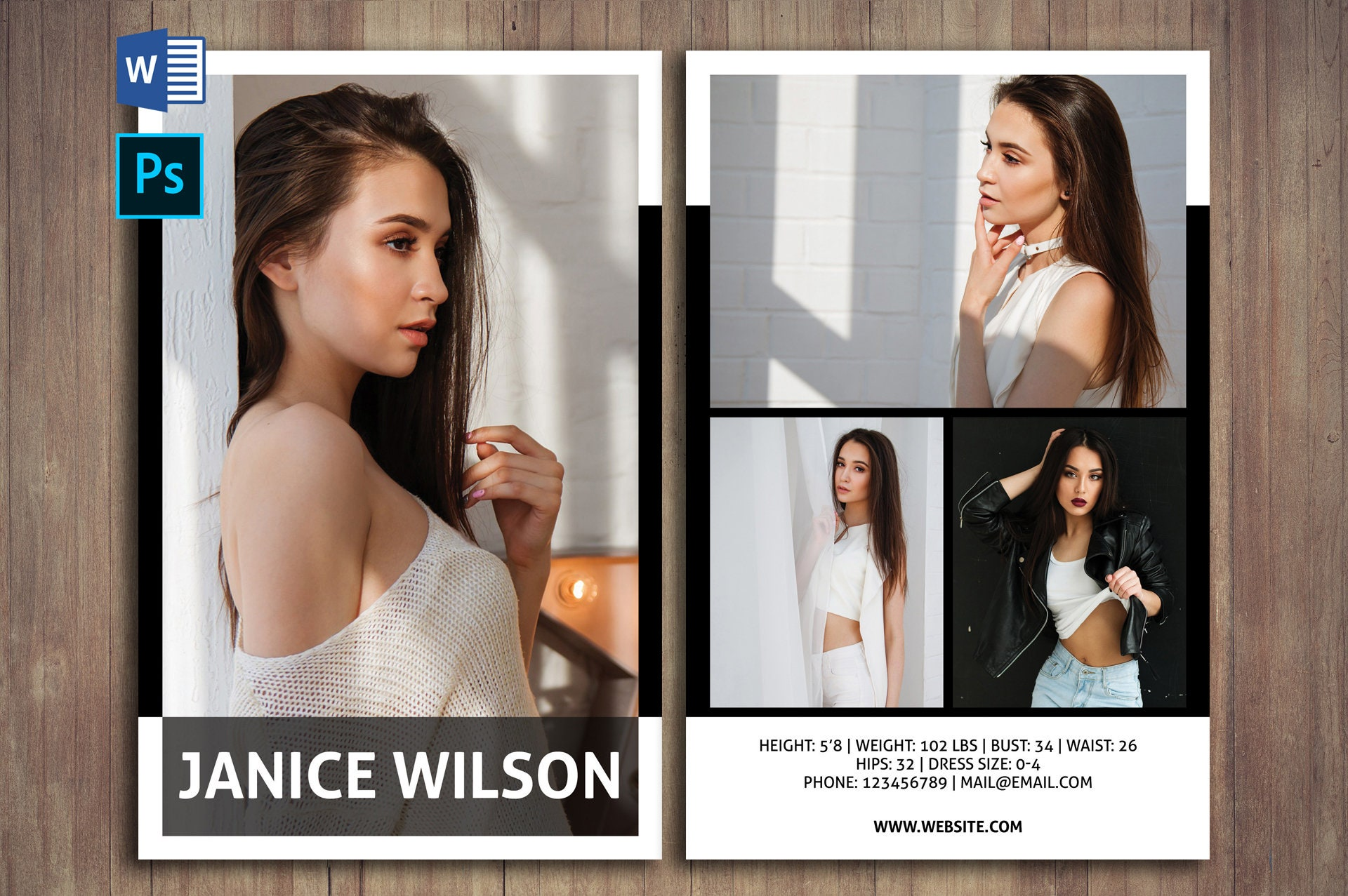 Professional Comp Card PSD Template, Modeling Comp Card Template, Photoshop  Template, Instant Download For Comp Card Template Psd