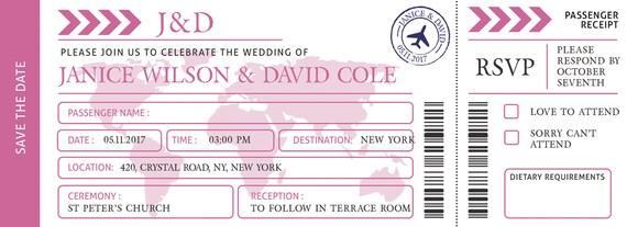 Zaproszenia ślubne Przeznaczenia Karta Pokładowa Zapisać Etsy