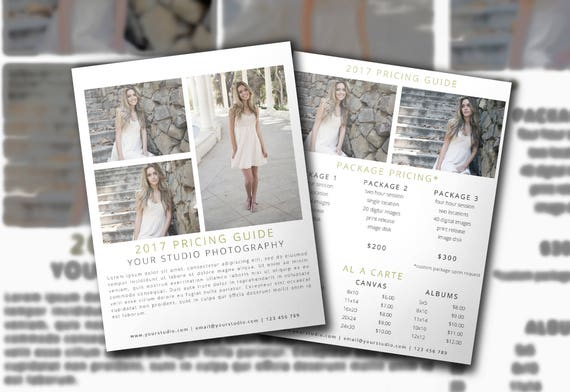 Photography Pricing PSD Template Photo Price List