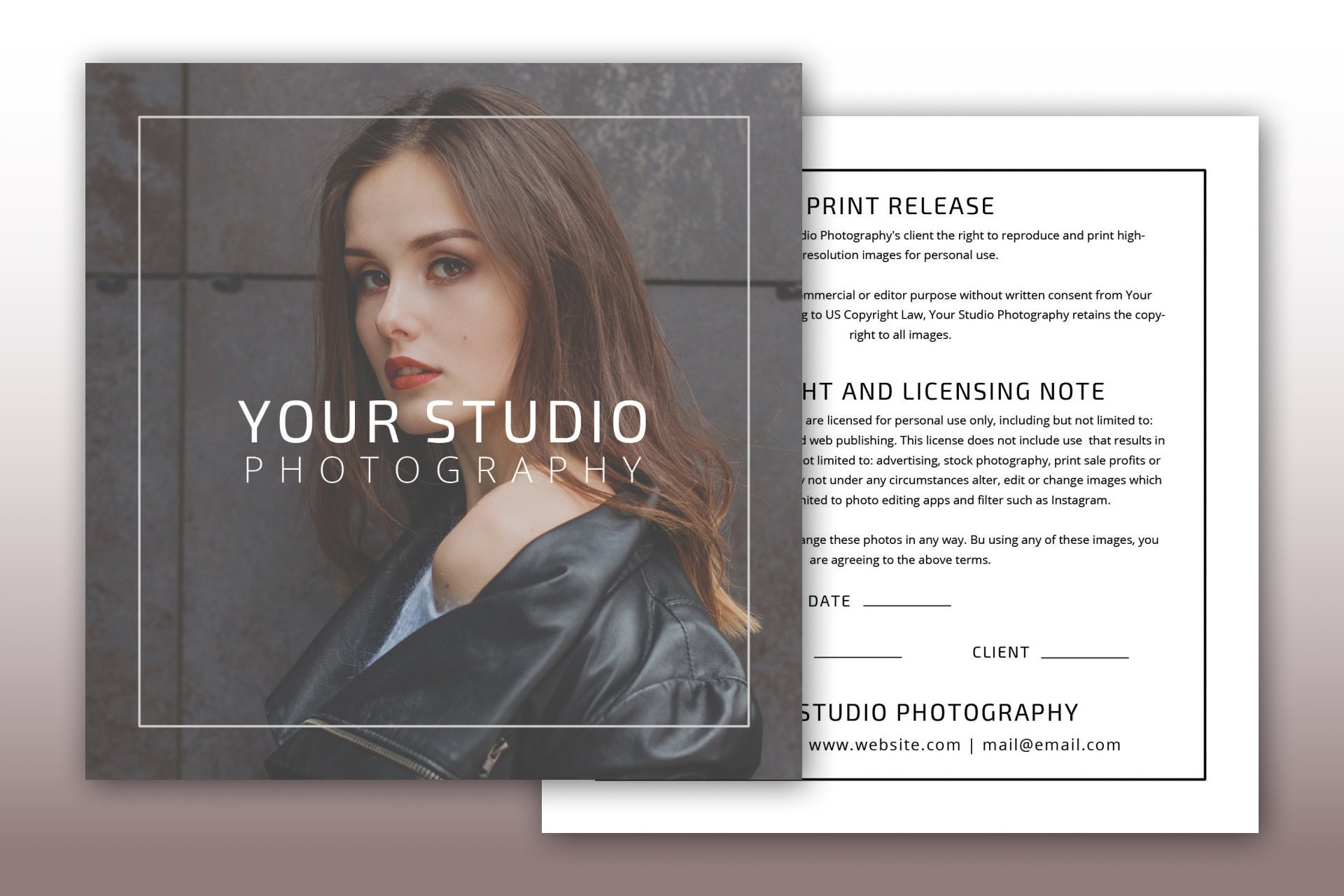 Print Release Template, Photography Template, Instant Download, Photoshop  Template, Photography Marketing