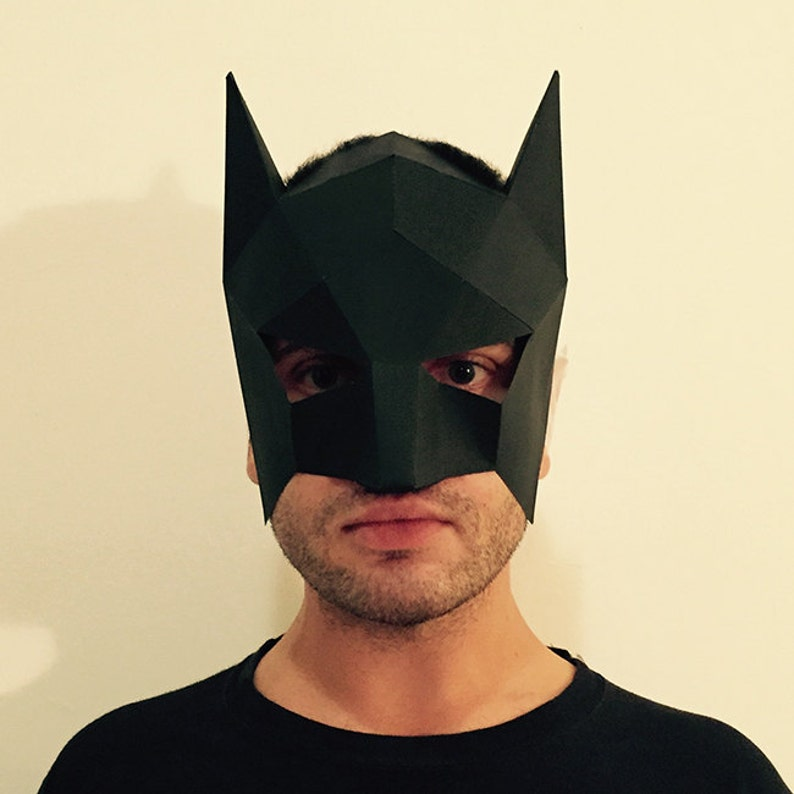 Batman Mask Template | Make Your Own Batman Mask From Paper Pdf Pattern Mask Etsy