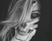 Skull Hand tattoo, Costume temporary tattoo, skull, halloween, skull, temporary halloween tattoo, Halloween costume, includes 2 tattoos