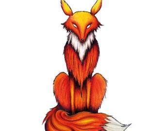 Includes 2 tattoos: Temporary Tattoo Fox, temporary tattoo Fuchs, handmade, temporary, Orange, fire, fire