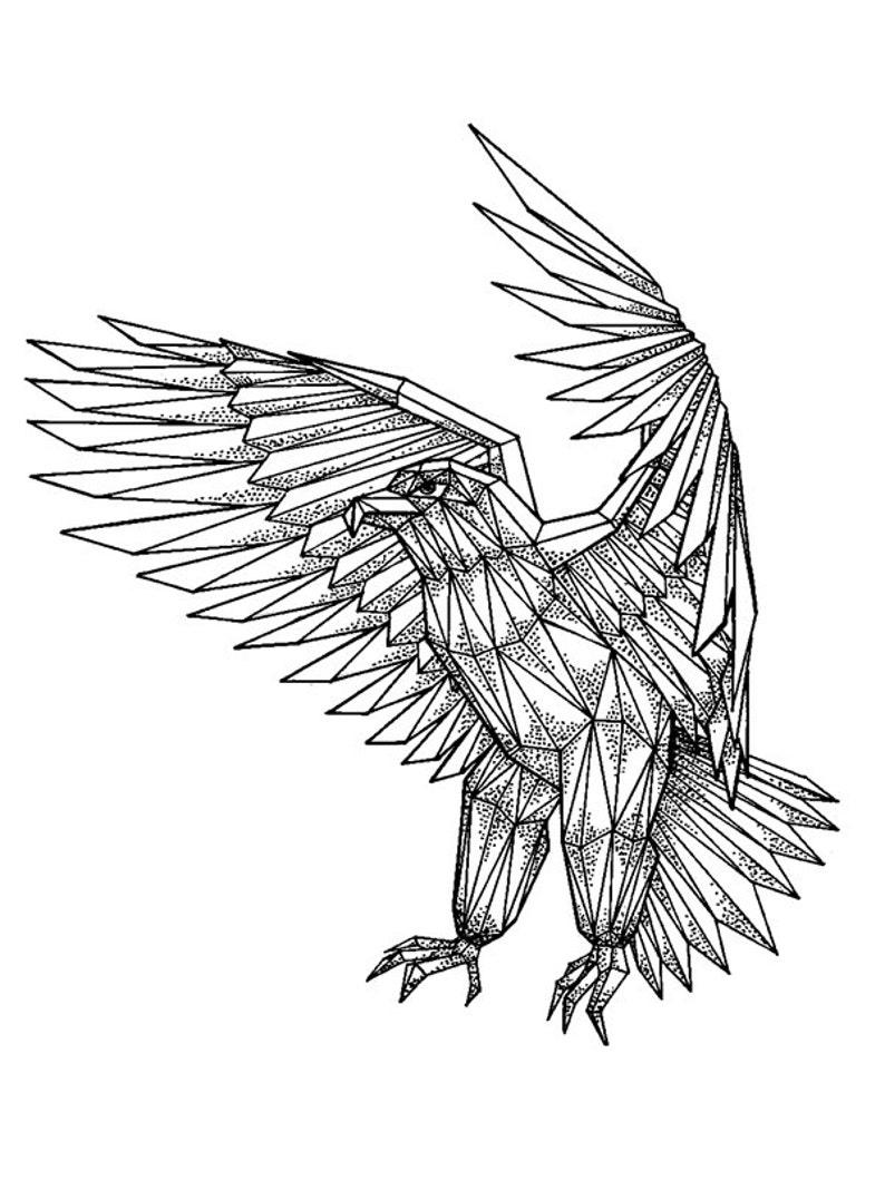 Includes 2 tattoos: handmade Eagle temporary tattoo eagle image 0