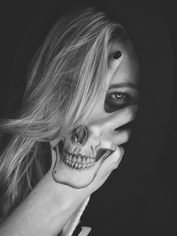 Skull Hand Tattoo Costume Temporary Tattoo Skull Halloween Etsy
