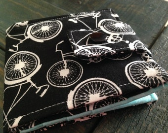 bicycle print fabric wallet