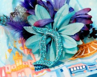 Turquoise Disney D Brooch