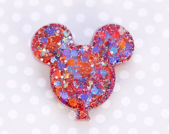 Mickey Balloon Brooch - Red and Blue Mickey Brooch