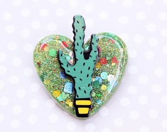 Cactus Heart Brooch