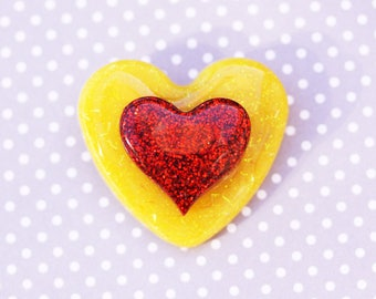 SALE Yellow and Red Heart Brooch