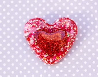 SALE Pink and Red Heart Brooch