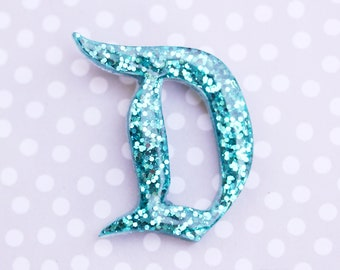 Turquoise Disney D Brooch  - Classic Disney D Pin - Teal Disney D Brooch