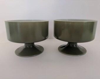 Dessert bowls - Olive green milk glass, set of 2