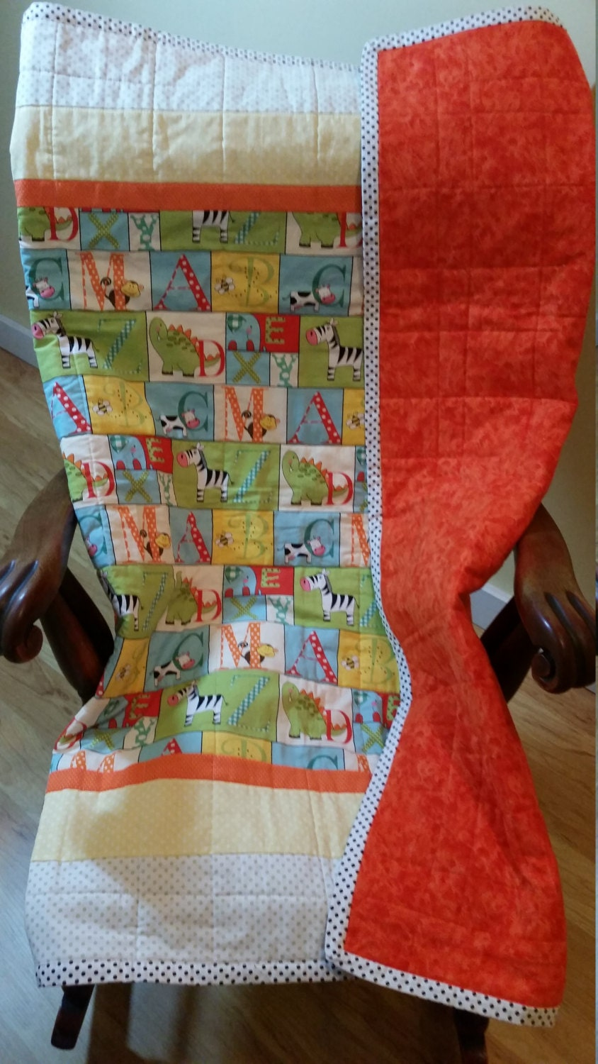 Alphabet et couette Animal enfant de flanelle orange vibrant support