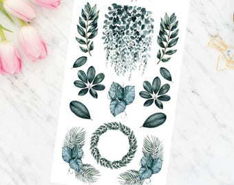 Dark Green Plants soft watercolor planner stickers boho