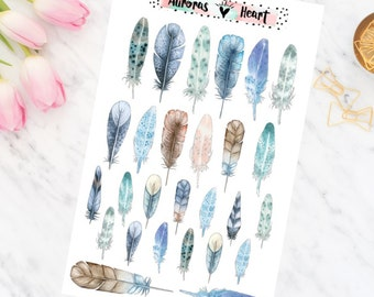 Feathers Blue soft watercolor planner stickers boho