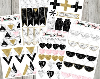 Marble Full Set minimalism planner stickers