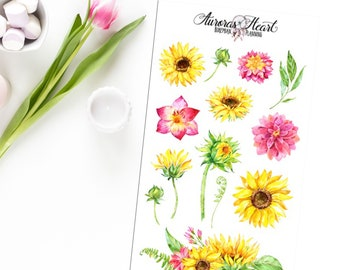 Sunflowers watercolor planner stickers boho