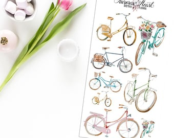 Bicycles Retro watercolor planner stickers boho