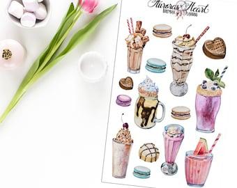 Milkshake Retro watercolor planner stickers boho