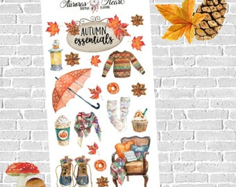 Autumn/Fall essentials soft watercolor planner stickers boho