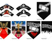 Hollywood Red Carpet Cupcake Wrappers & Party Banner 7pc Set-Hollywood Oscar Party Decoration-New Baby Shower Party Decoration-Instant Dnld